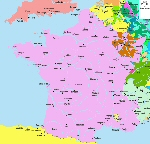 Map of French gouvernements in 1700